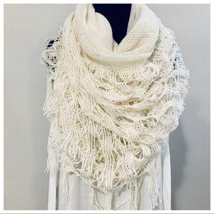Off white fringe knit scarf